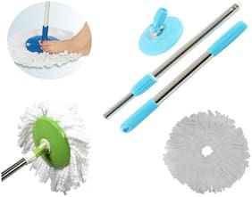 Robert Hardy Best 360 Degree Spin Mop Handle Stick Set (Stainless Steel Mop Rod Easy Cleaning, Wash, Wet & Dry) With 1 Microfiber Polyester Head Refill Free (1Pc) Assorted Color