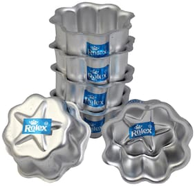 Rolex Aluminium Jelly CupCake Muffin Mould  Lt Flower with Dec.star set of 6 S1