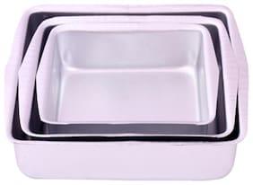 Rolex Aluminium Cake Mould Square -3 pcs