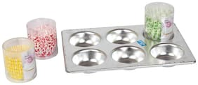 Rolex Aluminium Muffin Tray 6 Cavity + 300 Flair Paper Cup Cakes 10 Cm