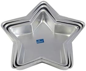 Rolex Aluminium Cake Mould Star Set of 3 500 gms - 1 Kg Cake