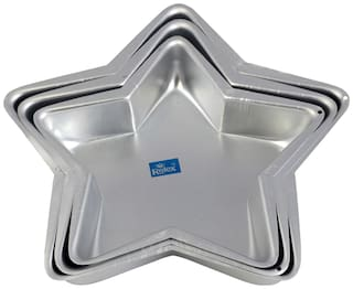 Rolex Aluminium Cake Mould Star Set of 3 500 gs - 1 Kg Cake