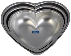 Rolex Aluminium Cake Mould Valentine Heart Set of 3 500 gs - 1 Kg Cake