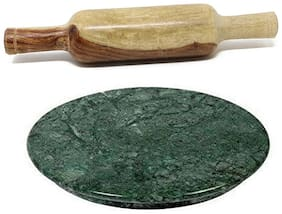 Roli Moli Marble & Wood Green & Brown Chakla belan sets ( Set of 2 )