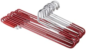ROLLYWARE Plastic & Stainless steel Red Hangers ( Set of 10 )