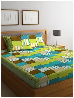 ROMEE Cotton Checkered Queen Size Bedsheet 144 TC ( 1 Bedsheet With 2 Pillow Covers , Green )