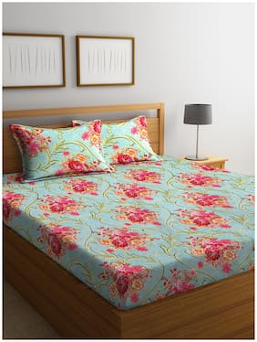 ROMEE Cotton Floral Queen Size Bedsheet 144 TC ( 1 Bedsheet With 2 Pillow Covers , Turquoise )
