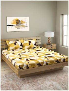 Romee 144 Tc 100% Cotton Geometric Bedsheet For Queen Bed With 2 Pillow Covers - Yellow And Beige