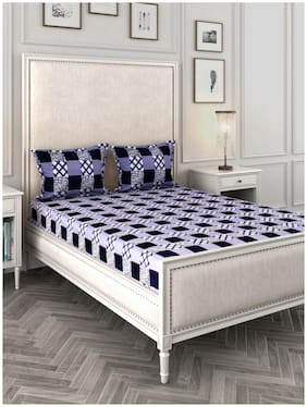 ROMEE Cotton Checkered Queen Size Bedsheet 144 TC ( 1 Bedsheet With 2 Pillow Covers , Blue )