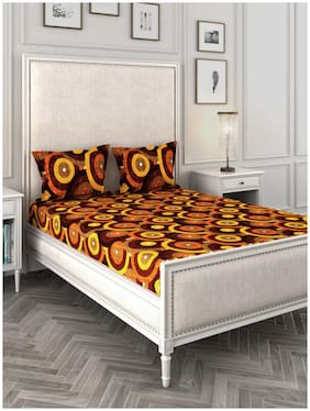 ROMEE Cotton Checkered Queen Size Bedsheet 144 TC ( 1 Bedsheet With 2 Pillow Covers , Multi )