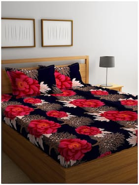 ROMEE Cotton Floral Queen Size Bedsheet 144 TC ( 1 Bedsheet With 2 Pillow Covers , Black )