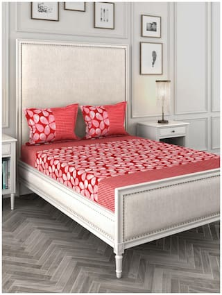 ROMEE Cotton Floral Queen Size Bedsheet 144 TC ( 1 Bedsheet With 2 Pillow Covers , Red )