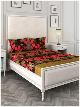 ROMEE Cotton Floral Queen Size Bedsheet 144 TC ( 1 Bedsheet With 2 Pillow Covers , Brown )