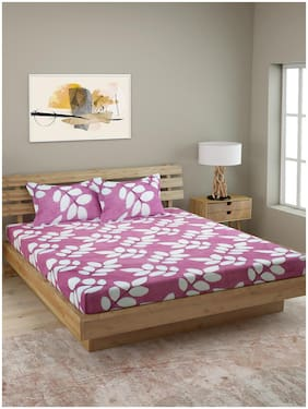 ROMEE Cotton Floral Queen Size Bedsheet 144 TC ( 1 Bedsheet With 2 Pillow Covers , Purple )