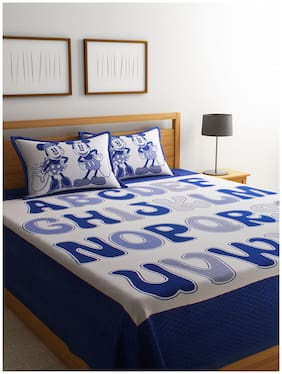ROMEE Poly Cotton Printed Queen Size Bedsheet 400 TC ( 1 Bedsheet With 2 Pillow Covers , Blue )
