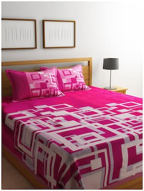 ROMEE Poly Cotton Geometric Queen Bedsheet ( 1 Bedsheet with 2 Pillow Covers , Pink )