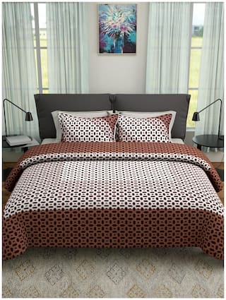 ROMEE Poly Cotton Abstract Queen Size Bedsheet 400 TC ( 1 Bedsheet With 2 Pillow Covers , Brown )
