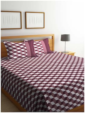 ROMEE Poly Cotton Geometric Queen Size Bedsheet 400 TC ( 1 Bedsheet With 2 Pillow Covers , Maroon )