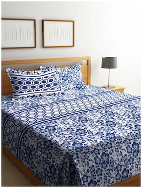 ROMEE Poly Cotton Floral Queen Size Bedsheet 400 TC ( 1 Bedsheet With 2 Pillow Covers , Blue )