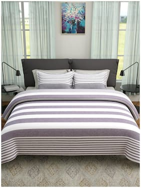 ROMEE Poly Cotton Striped Queen Size Bedsheet 400 TC ( 1 Bedsheet With 2 Pillow Covers , Grey )