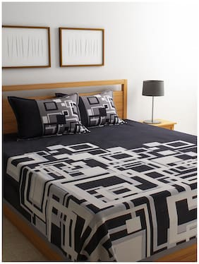 ROMEE Poly Cotton Geometric Queen Bedsheet ( 1 Bedsheet with 2 Pillow Covers , Black )