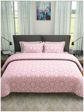 ROMEE Poly Cotton Printed Queen Size Bedsheet 400 TC ( 1 Bedsheet With 2 Pillow Covers , Pink )