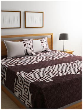 ROMEE Poly Cotton Geometric Queen Bedsheet ( 1 Bedsheet with 2 Pillow Covers , Brown )