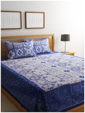 ROMEE Poly Cotton Checkered Queen Size Bedsheet 400 TC ( 1 Bedsheet With 2 Pillow Covers , Blue )