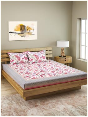 ROMEE Cotton Floral King Size Bedsheet 210 TC ( 1 Bedsheet With 2 Pillow Covers , White )
