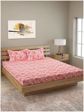 ROMEE Cotton Floral Queen Size Bedsheet 210 TC ( 1 Bedsheet With 2 Pillow Covers , Red )