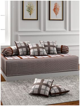 ROMEE Poly cotton Checkered Single Size Diwan Sets - Pack of 8