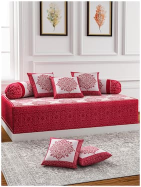 ROMEE Poly cotton Damask Single Size Diwan Sets - Pack of 8