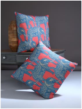 ROMEE Printed Chenille Blue Cushion Cover ( Regular , Pack of 2 )