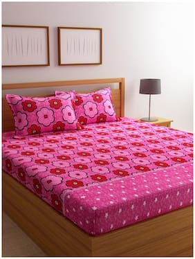 ROMEE Cotton Floral Double Bedsheet ( 1 Bedsheet with 2 Pillow Covers , Pink )