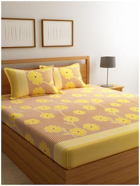 ROMEE Cotton Floral Double Bedsheet ( 1 Bedsheet with 2 Pillow Covers , Yellow )