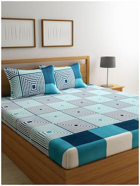 ROMEE Cotton Geometric Double Bedsheet ( 1 Bedsheet With 2 Pillow Covers , Turquoise )
