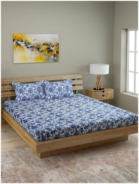 ROMEE Cotton Floral Queen Size Bedsheet 210 TC ( 1 Bedsheet With 2 Pillow Covers , Blue )