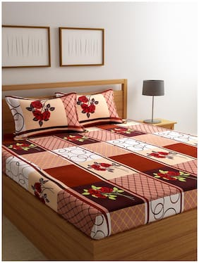 ROMEE Cotton Checkered Double Size Bedsheet 144 TC ( 1 Bedsheet With 2 Pillow Covers , Beige )