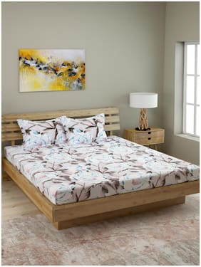 ROMEE Cotton Floral Queen Size Bedsheet 210 TC ( 1 Bedsheet With 2 Pillow Covers , Multi )