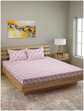 ROMEE Cotton Geometric Queen Size Bedsheet 210 TC ( 1 Bedsheet With 2 Pillow Covers , Multi )