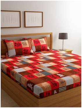 ROMEE Cotton Checkered Double Size Bedsheet 144 TC ( 1 Bedsheet With 2 Pillow Covers , Multi )
