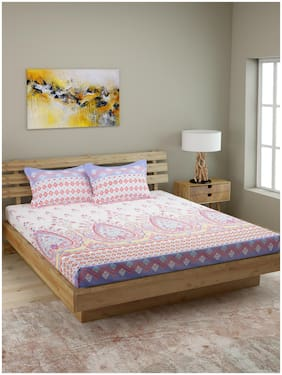 ROMEE Cotton Floral Queen Size Bedsheet 144 TC ( 1 Bedsheet With 2 Pillow Covers , Multi )