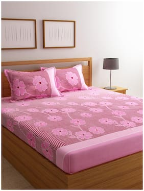 ROMEE Cotton Floral Double Size Bedsheet 144 TC ( 1 Bedsheet With 2 Pillow Covers , Pink )