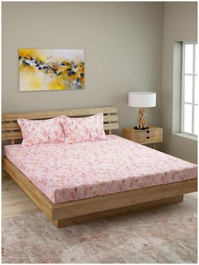 ROMEE Cotton Floral Queen Bedsheet ( 1 Bedsheet with 2 Pillow Covers , Pink )