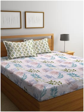 ROMEE Cotton Floral King Size Bedsheet 210 TC ( 1 Bedsheet With 2 Pillow Covers , Multi )