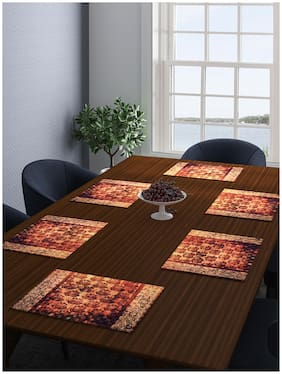 Romee Damask Print Cotton Dining Table Mats And Placemats Pack Of 6 -Brown