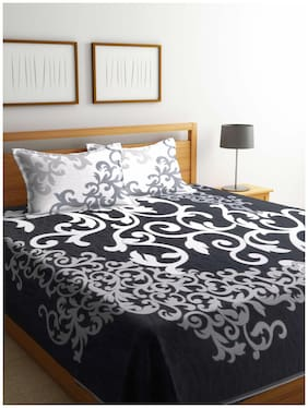 ROMEE Poly Cotton Printed Queen Size Bedsheet 400 TC ( 1 Bedsheet With 2 Pillow Covers , Off-white )