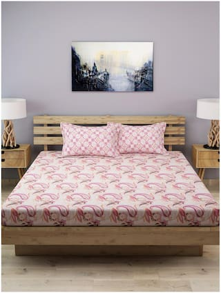 ROMEE Cotton Geometric King Size Bedsheet 210 TC ( 1 Bedsheet With 2 Pillow Covers , Multi )