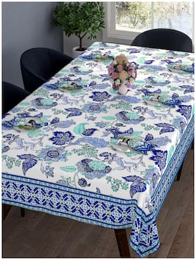 Romee Floral Printed Cotton Dining Table Cover 6 Seater With Napkin - Blue & White