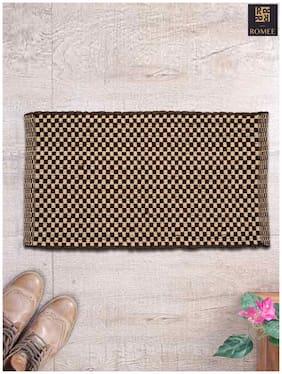 Romee Golden & Brown Cotton Door Mat for Home 16 x 24